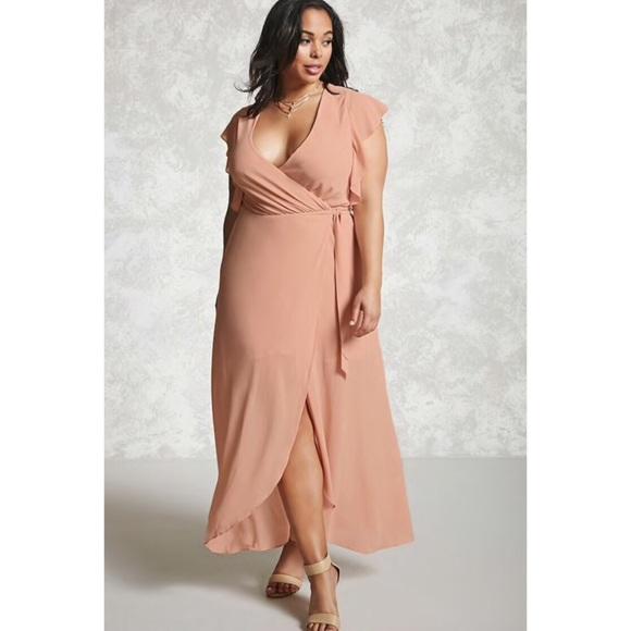 943c5d67ca Blush Plus Size Surplice Wrap Maxi Dress 3X